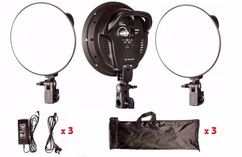 bộ 3 đèn quay phim studio