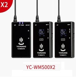 Micro thu âm không dây cài áo 2 người YC-WM500X2